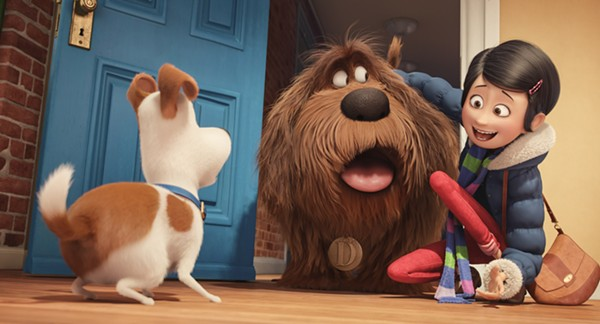 Katie (Ellie Kemper) introduces Max (Louis C.K.) to their new furry friend Duke (Eric Stonestreet). - ILLUMINATION ENTERTAINMENT