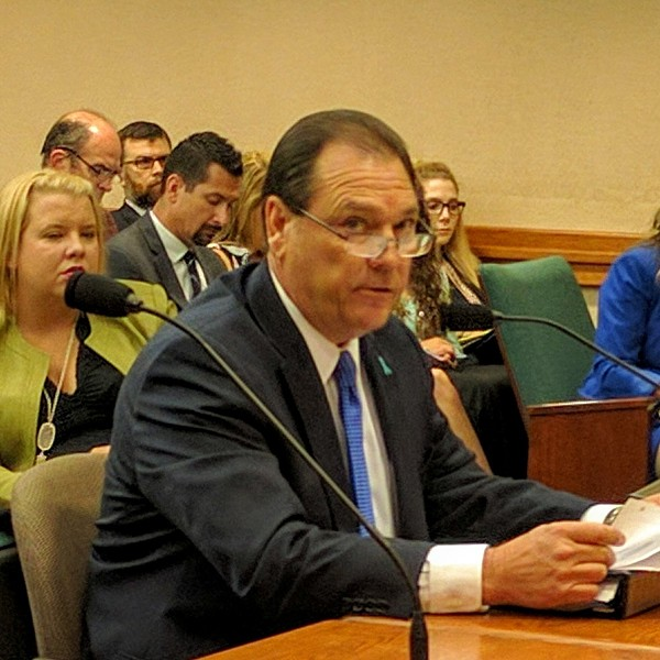 Texas Department of Family and Protective Services Commissioner Hank Whitman testifies at a House committee hearing Tuesday. - TEXAS REPRESENTATIVE GENE WU | TWITTER