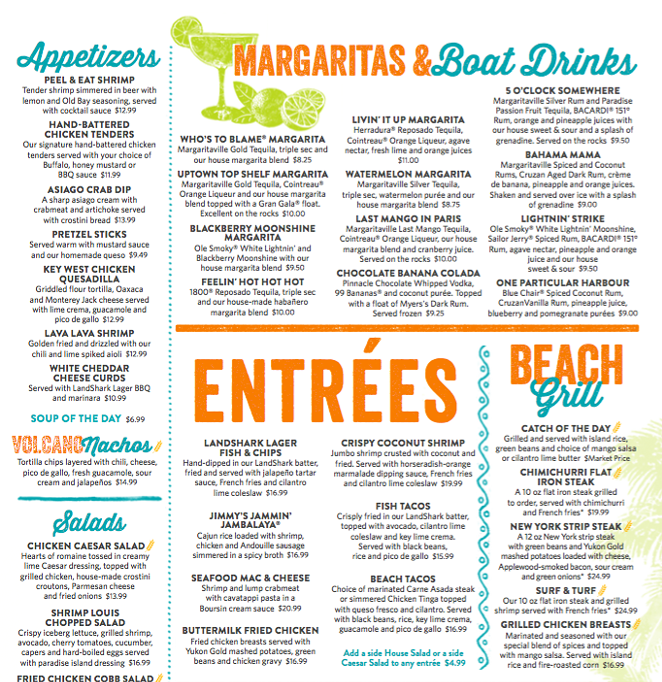 A peek at the menu - COURTESY OF MARGARITAVILLE