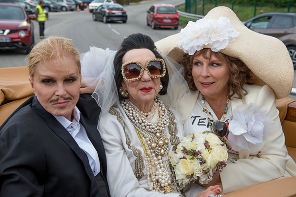 "Joanna Lumley as ""Patsy,"" Marcia Warren as ""Baroness Lubliana Santa,"" and Jennifer Saunders as ""Edina"" in Absolutely Fabulous: The Movie. Photo by David Appleby. ©2016 Twentieth Century Fox Film Corporation"