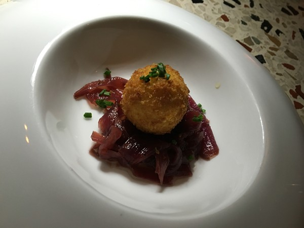 Goat cheese and sweet and sour onion jam. - RON BECHTOL