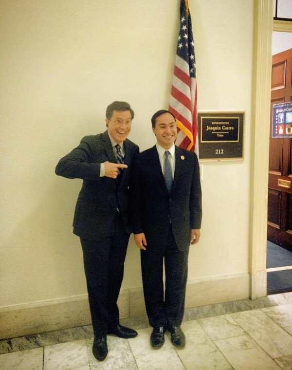 This photo from July 2014 shows Congressman Joaquin Castro hanging out with Stephen Colbert. - CONGRESSMAN JOAQUIN CASTRO | FACEBOOK