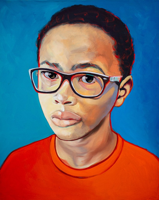 The documentary is paired with an exhibition of portraits painted of the film's participants, including Robert Melvin II, pictured above. - COURTESY OF LIVING IN MY SKIN