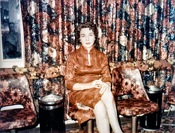 Edna Milton in the parlor of the Chicken Ranch (courtesy Edna Milton Chadwell).