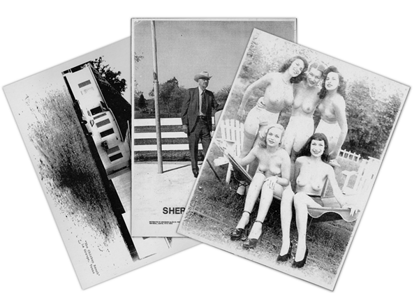 """A set of cardstock images depicting the Chicken Ranch, Sheriff T.J. """"Big Jim"""" Flournoy at the Fayette County Fairgrounds, and five topless women purported to be former employees of the brothel."""