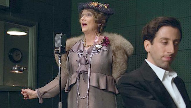 Florence Foster Jenkins (Streep) records a song at a studio with her accompanist Cosmé McMoon (Helberg). - COURTESY