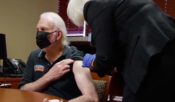 Spurs Coach Gregg Popovich receives a COVID-19 vaccine in a new public service announcement. - SCREEN CAPTURE / NBA CARES