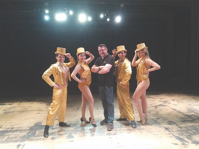 Tim Hedgepeth (center) with cast members of The Playhouse's production of A Chorus Line - PHOTO BY SIGGI RAGNAR
