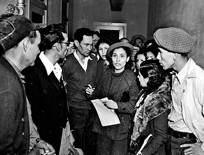 Labor organizer Emma Tenayuca (center) was one of the many San Antonians involved in the Mexican American civil rights struggle. - ANNE LEWIS