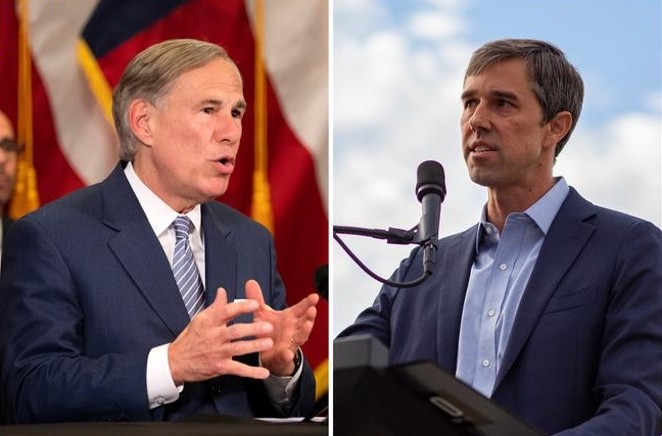 Gov. Greg Abbott, left, and former U.S. Rep. Beto O'Rourke, D-El Paso. The two traded criticisms Thursday as speculation mounts over whether O'Rourke will challenge Abbott in 2022. - THE TEXAS TRIBUNE