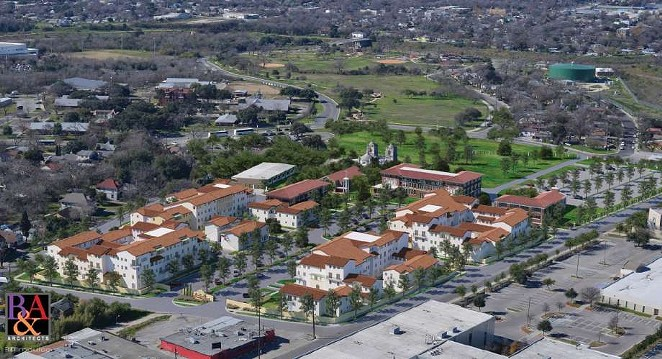 The proposed apartment complex borders Mission Concepción, a World Heritage site. - CITY OF SAN ANTONIO