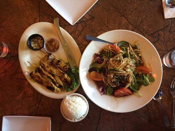 Tong's Chicken Sa-Tay ($7.99) and Papaya Salad ($8.99)