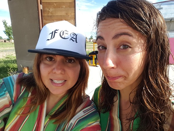 Mini Art Museum founders Mary Elizabeth Cantu and Gabriela Santiago at El Cosmico hotel and campground in Marfa