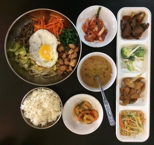 The Bibimbap with banchan, rice, and miso soup ($8.99)