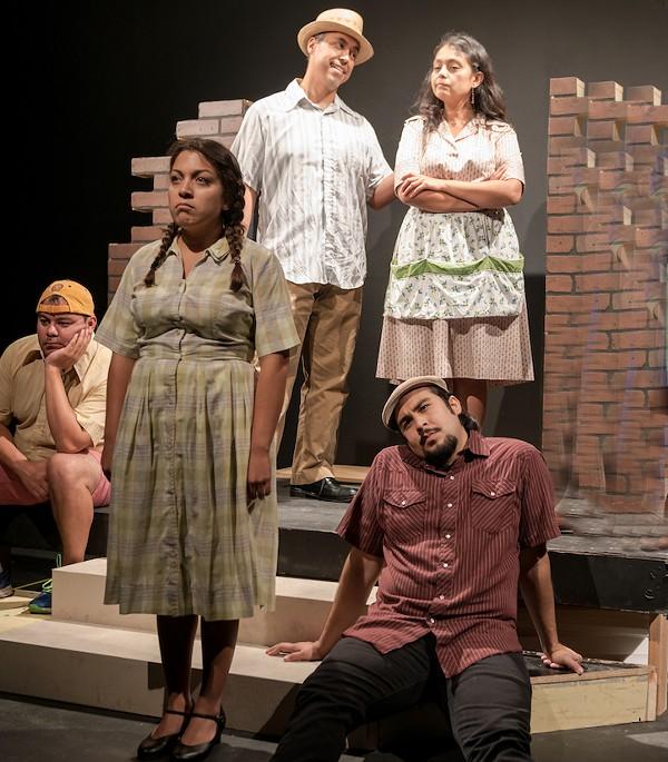 Gabriel Sánchez, Eraina Porras, Salvador Valadez, María Ibarra and Joshua Segovia in the Classic Theatre's production of The House on Mango Street - PHOTO BY SIGGI RAGNAR