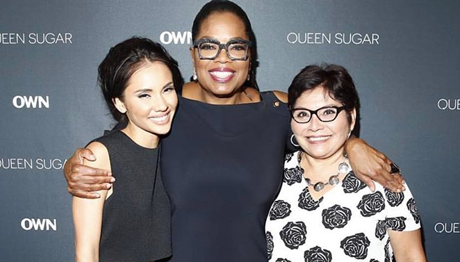 Marycarmen López and her mother alongside media icon Oprah Winfrey at the premiere of Winfrey's new TV project Queen Sugar for her OWN Network. - GETTY IMAGES