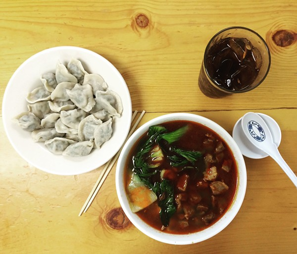From left: Pork and Chive Dumplings, Handmade Noodles with Lamb