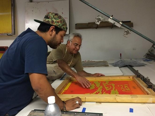 Harvey Mireles and artist Albert Gonzales - VIA FACEBOOK,  LA PRINTERIA