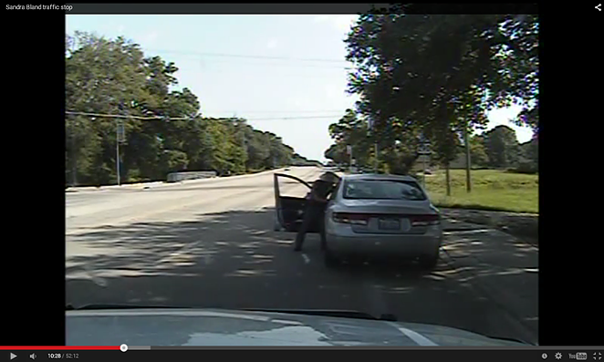 Dash-cam video shows DPS trooper Brian Encinia attempting to pull Sandra Bland out of her car during a routine traffic stop in Prairie View on July 10.