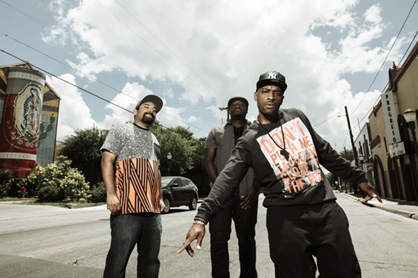 Black (and Brown) Rhymes Matter. From left: Marco Cervantes, DJ Chicken George and Easy Lee, the core of the Third Root collective. - JOSH HUSKIN