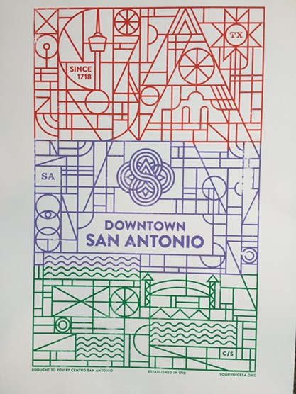 """Downtown's new """"brand,"""" brought to you by Nebraska but printed by San Anto's Cruz Ortiz."""