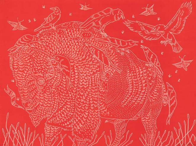 Richard Armendariz, Red Saturn and His Children - COURTESY OF MCNAY ART MUSEUM