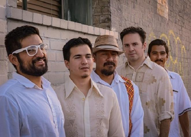 The Indigenauts (L to R): Pablo Mancias, Robert Sabo, Alvaro Itzli Ramirez, John Fernandez, Carlos Sanchez de la Garza. - PHOTO CREDIT: RICHARD THURMAN