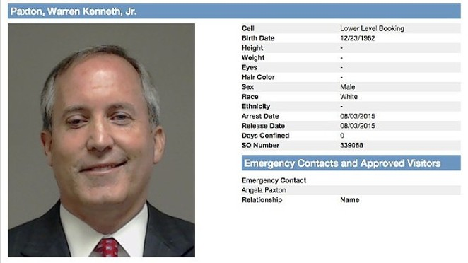 Texas Attorney General Ken Paxton sat for a mugshot after he was booked on multiple felony counts last July - COLLINS COUNTY