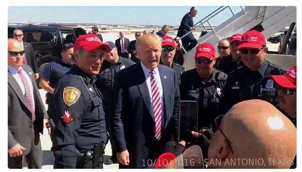"These San Antonio cops want to ""Make America Great Again"" with Donald Trump - TWITTER/DONALD TRUMP"