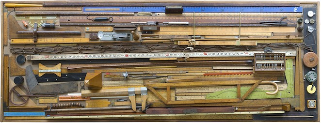 MARILYN LANFEAR, MY COLLECTION OF MEASURING DEVICES (TOP VIEW), 2004