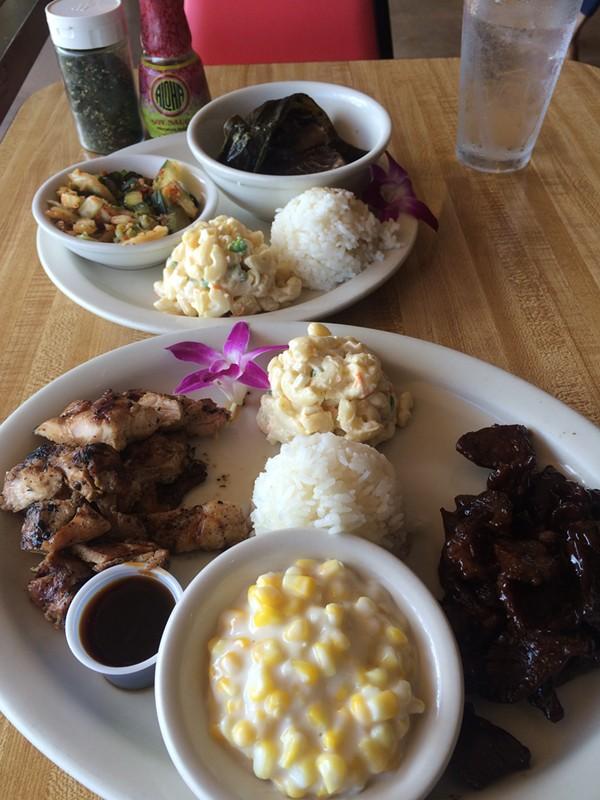 Clockwise from top left: Kimchi, lua lua, Draggin' Meat, coconut cream corn, huli huli chicken