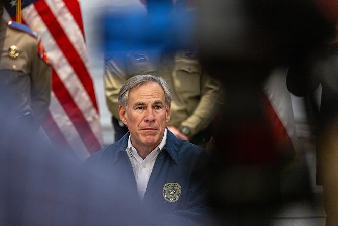 Gov. Greg Abbott spoke at a Saturday press conference regarding Texas' emergency response to a winter storm gripping Texas. - JORDAN VONDERHAAR / THE TEXAS TRIBUNE