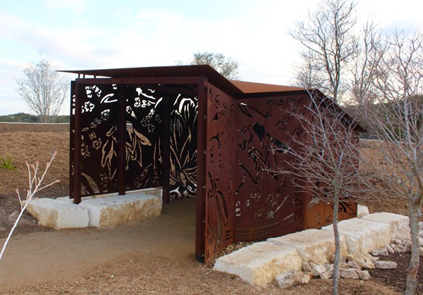 One of two steel wildlife blinds designed by artists Ashley Mireles and Cade Bradshaw for the Phil Hardberger Park land bridge. - EMILY SCHMALSTIEG