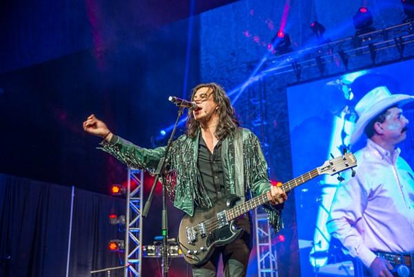 "The Last Bandoleros' Diego Navaira singing ""Even If I Tried"" during the Emilio tribute at the Tejano Music Awards  last night. - JAIME MONZON"