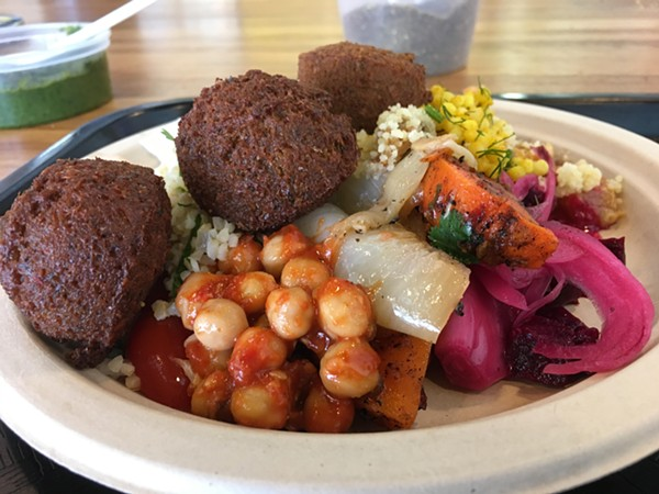 The plate with Spicy Red falafel - ERIN WINCH