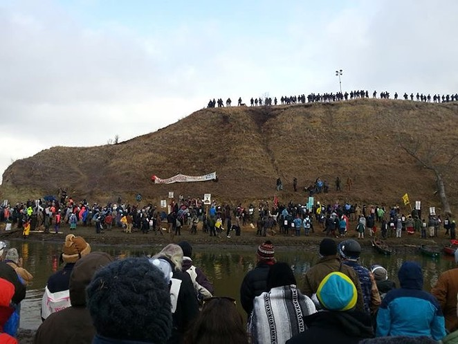Water protectors in Standing Rock tried to take a sacred site called Turtle Island over the Thanksgiving Day weekend - COURTESY JENNIFER FALCON