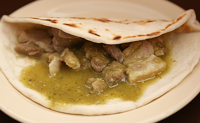 The pork in salsa verde at Taco Mexicano. - BEN OLIVO