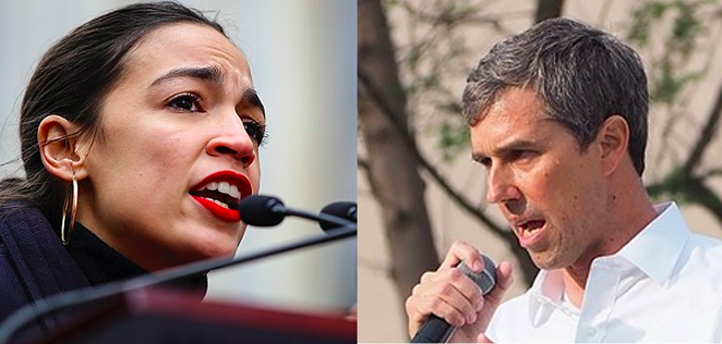"Help gougers: Texas AG Ken Paxton has accused AOC and Beto of ""exorbitant and excessive fundraising"" to help his constituents. - WIKIMEDIA COMMONS / DIMITRI RODRIGUEZ (LEFT) AND LUKE HAROLD (RIGHT)"