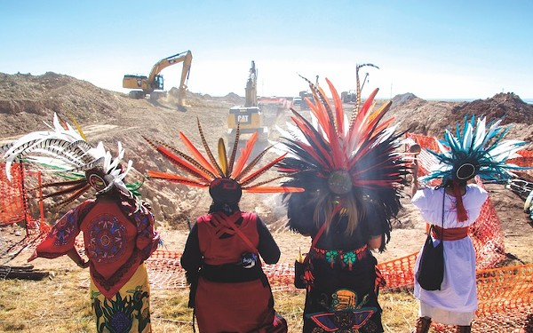 Members of San Antonio-based Kalpulli Ameyaltonal pray at the site of the Trans-Pecos Pipeline construction close to Marfa, Texas. - PHOTOS BY GREG HARMAN