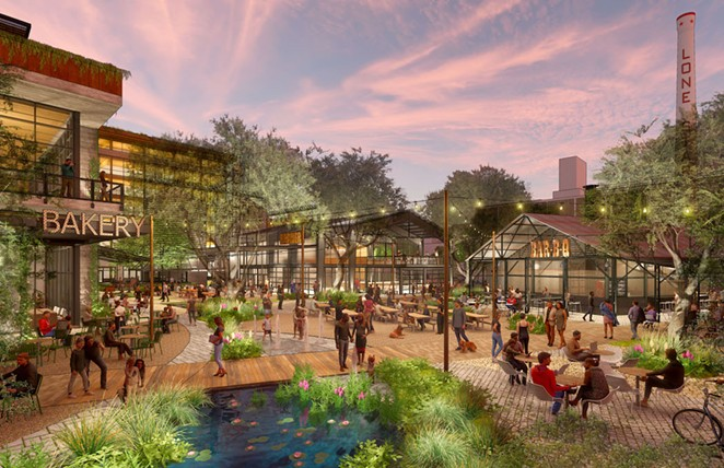 This rendering shows the proposed redevelopment of the Lone Star Brewery site. - COURTESY IMAGE / MIDWAY AND GRAYSTREET PARTNERS