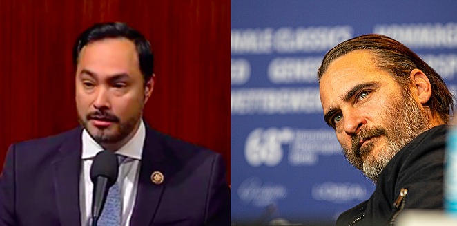 Even with beards we can still tell them apart: U.S. Rep. Joaquin Castro (left) and actor Joaquin Phoenix (right). - LEFT: SCREEN CAPTURE / C-SPAN; RIGHT: WIKIMEDIA COMMONS / HARALD KRICHEL