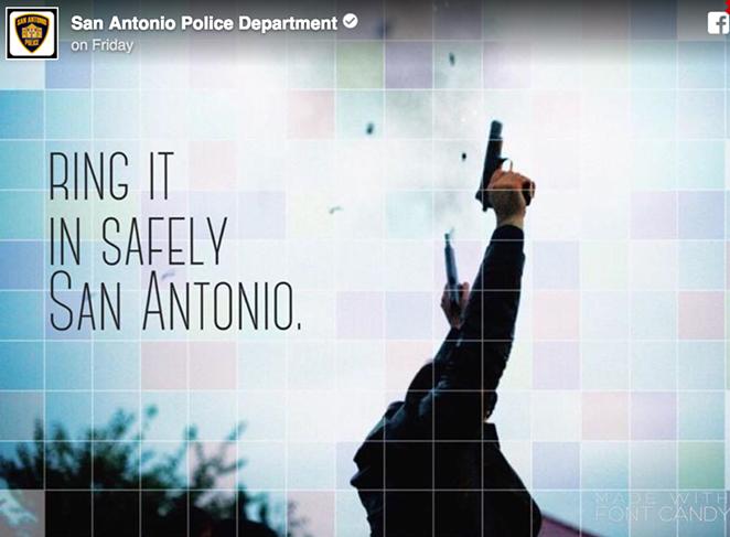 "The San Antonio Police Department felt it necessary to remind NYE revelers that ""celebratory gunfire"" is not OK... - SAPD"