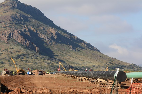 The Trans-Pecos Pipeline in October before being sunk into the ground on the edge of Alpine, Texas. - GREG HARMAN