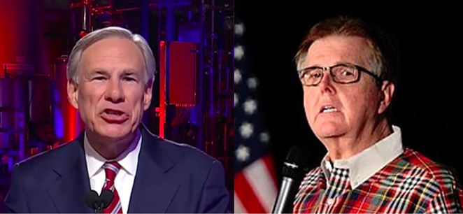 Texas' two daddies are fighting: Texas AG Ken Paxton is trying to get Gov. Greg Abbott (left) and Lt. Gov. Dan Patrick to engage in couples counseling, insiders in his office report. - SCREEN CAPTURE / KXAN-TV (LEFT) AND WIKIMEDIA COMMONS / GAGE SKIDMORE (RIGHT)