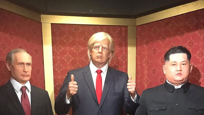 The wax dummy of former President Donald Trump, shown in a visitor's photo, was packed off to storage after people kept punching it. No word on whether his two BFFs also suffered damage. - INSTAGRAM / ALLY_CAUDILLO