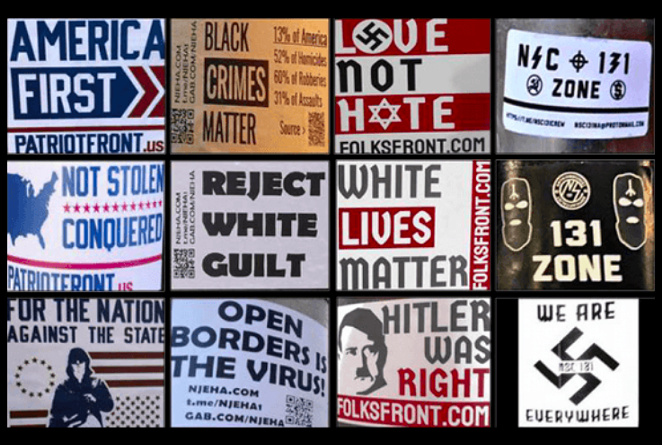 These images were collected by ADL as it documented hate group propaganda in 2020. - COURTESY IMAGE  / ADL