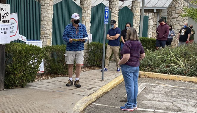 San Antonians line up outside of the Lion's Field voting site during the 2020 presidential election. - SANFORD NOWLIN