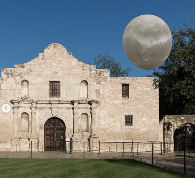 """A globe featured in Ryan Takaba's """"A Relationship with Flight"""" took a fictional journey across San Antonio for April Fools' Day. - INSTAGRAM / BLUESTARART"""
