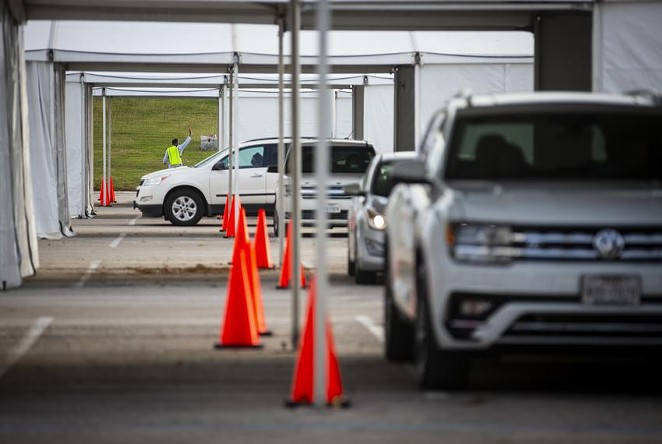 Legislation approved by Senate Republicans in the wee, small hours of Thursday morning would prohibit drive-thru voting, make it illegal for election officials to send vote-by-mail applications unless people ask for them and block the kind of 24-hour early voting offered in Harris County last year. - ANNIE MULLIGAN / THE TEXAS TRIBUNE