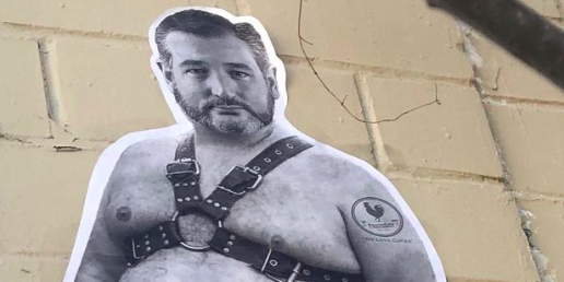 A twitter user spotted this wall sticker of Ted Cruz on the St. Mary's Strip. - TWITTER / @JACKASAURUS3